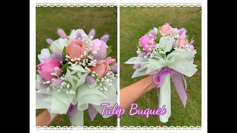 EP 163 :Tulip bouquet ช่อดอกทิวลิป How to make nylon flower by ployandpoom