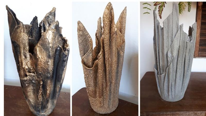 Como fazer Lindos Vasos com Toalha de Banho e Cimento Auto Irrigável e Antidengue.