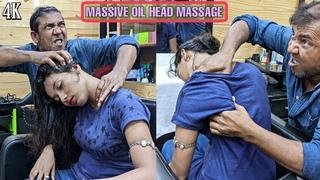 Massive Oil Head massage with Loud Neck, Hair, Elbow, Spine Cracking | Asim Barber | ASMR