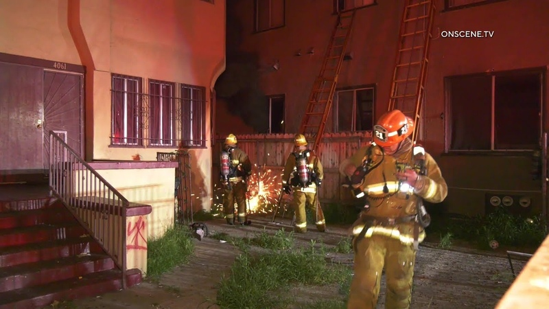 Two-Story Apartment Building Sustains Partial Collapse Amid Fire In Los Angeles