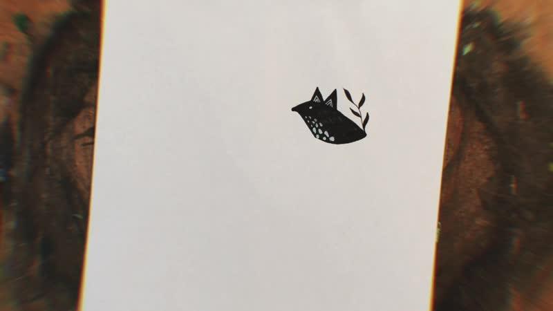 Иллюстрация лисички маркером и белой ручкой