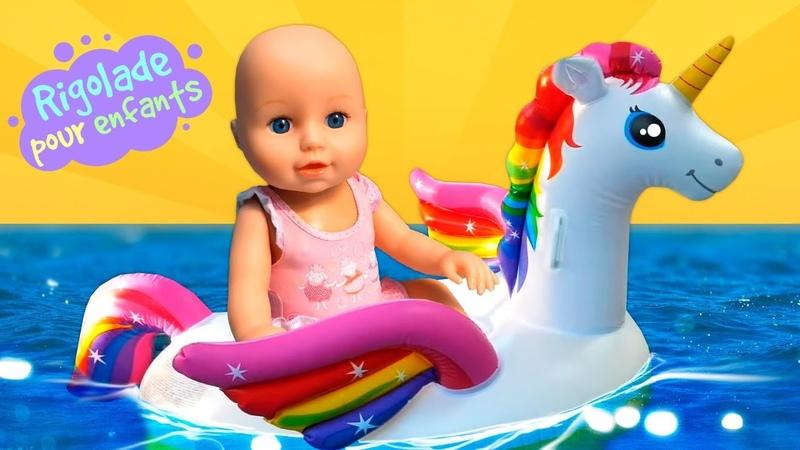 Baby Annabell à la piscine Les jeux dans l'eau Vidéos drôles avec le mime pour enfants