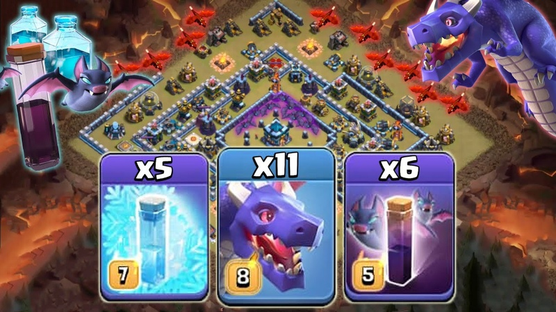 The NEW Dragon SLYLE Attack for TH 13 Mass Dragons Bat Freeze vs War Bases Clash of Clans