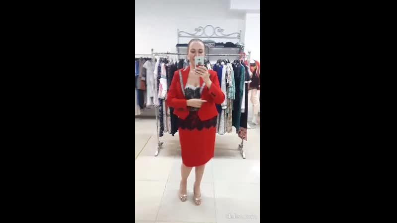 красный жакет юбка