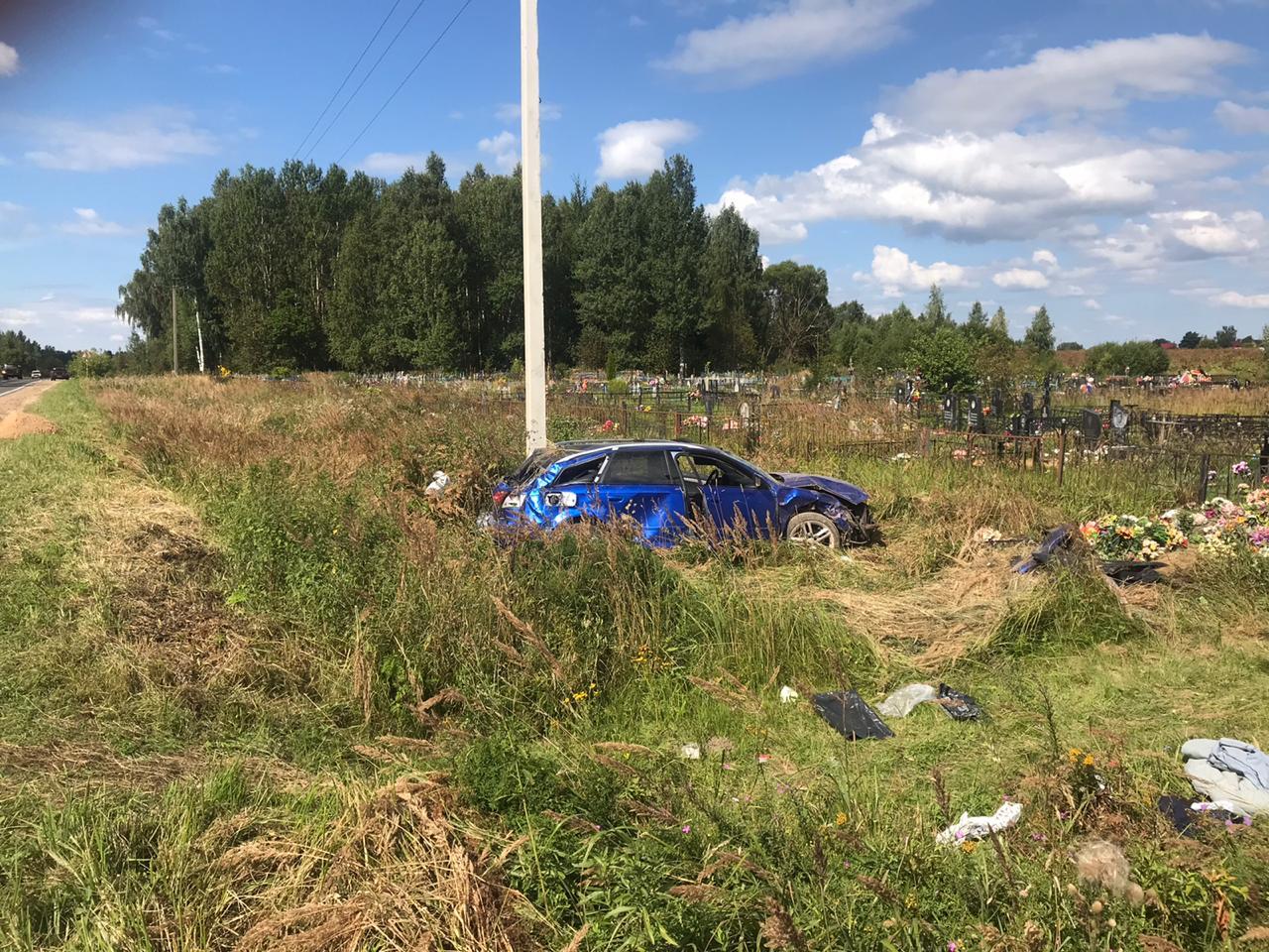Нетрезвый водитель Ауди А4 опрокинулся в кювет на трассе Дубна-Кимры-Горицы, 3 человека пострадали