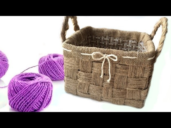 DIY Wicker basket with Jute Rope Jute Rope Basket