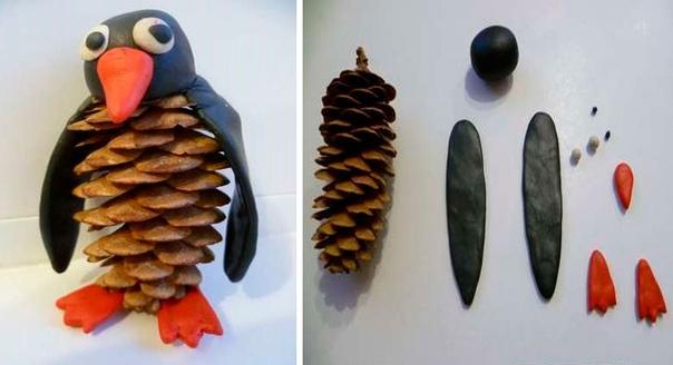 Пингвин из шишки и пластилина понадобится:еловая шишка, пластилин чёрного, оранжевого и белого цвета,Стек ход работыСлепите 2 крыла из чёрного пластилина.Слепите клюв и лапки из оранжевого