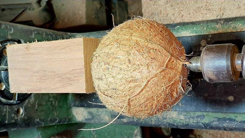 Woodturning Wood coconut and resin a Transformation Madeira coco e resina uma transformação