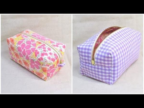 ボックスポーチ作り方 型紙なし How to sew a zipper box pouch 裏地付き 縫い代の見えない作 1242