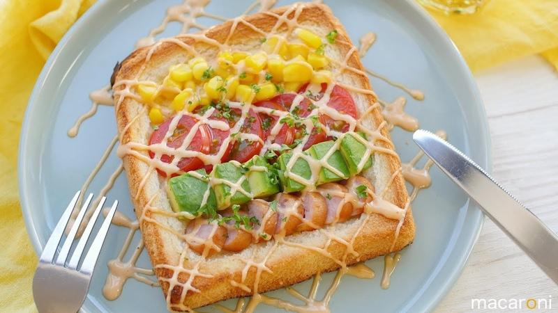 野菜でレインボー! ケチャ マヨ ビームの コブサラダ トースト のレシピ 作り方