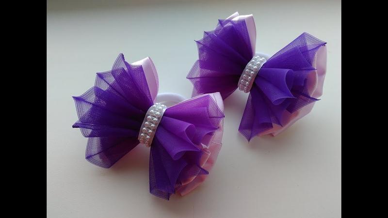 Красивые бантики из атласа и органзы МК Канзаши Beautiful bows of satin and organza