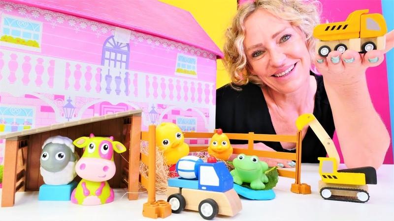 Nicoles Spielzeug Kindergarten. Wir lernen wie man Baustellenfahrzeuge nennt. Video für Kinder.