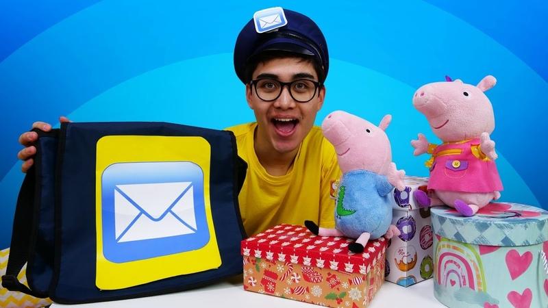 Juego del cartero con Peppa y George Los juguetes de Peppa Pig en español Vídeos para niños