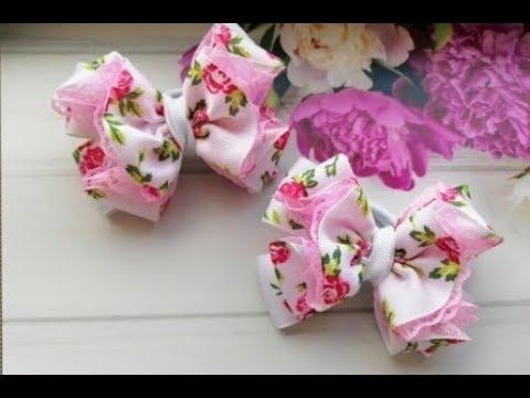 Бантики из репса и кружева 2,5 см. МК Канзаши Bows of reps and lace 2.5 cm.