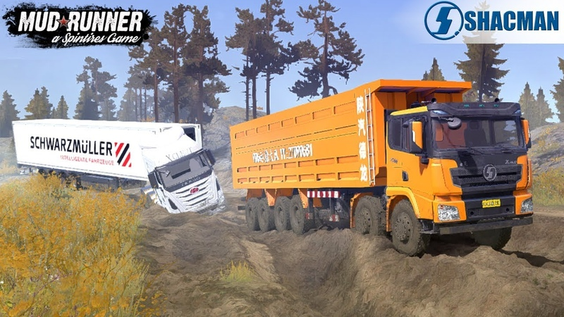 Spintires: MudRunner - SHAANXI 12X12 Pulls Out A Hyundai Truck From A Deep Hole