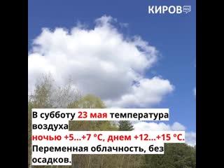 Прогноз погоды на 22, 23 и 24 мая