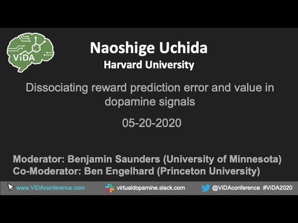 Naoshige Uchida Dissociating reward prediction error and value in dopamine signals ViDA 2020