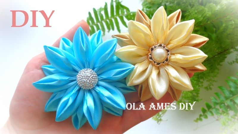 DIY Ribbon Flowers Цветы из лент Канзаши Easy Flower Making Hand Embroidery Flowers Ola ameS DIY