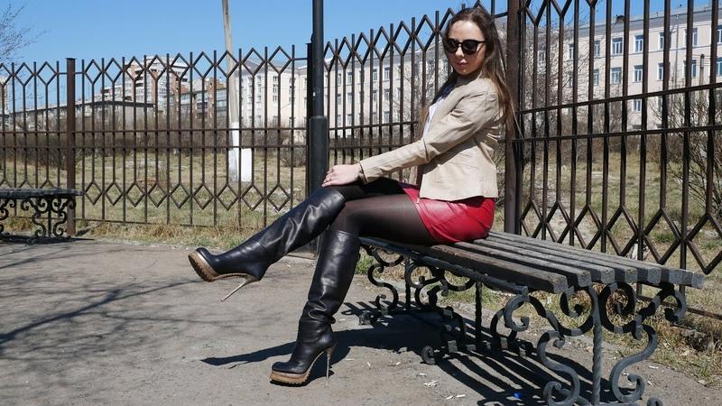 Elena's Gianmarco Lorenzi tractor soles platform stiletto high heels black leather boots EU41 US10