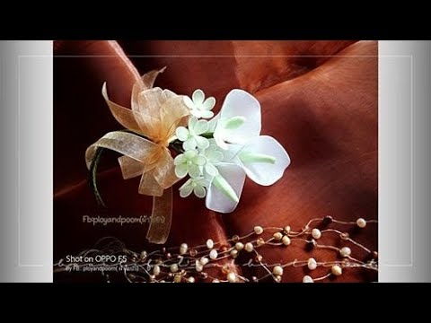 EP141 :DIY boutonniere stocking nylon flower by ployandpoom เข็มกลัดดอกไม้