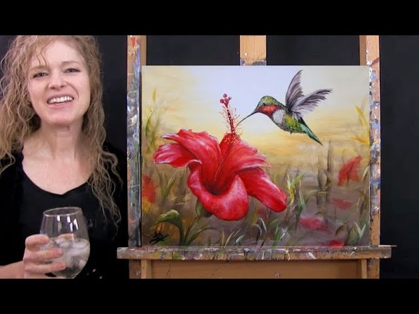 Learn How to Paint HIBISCUS HUMMINGBIRD with Acrylic Paint and Sip at Home Step by Step Tutorial