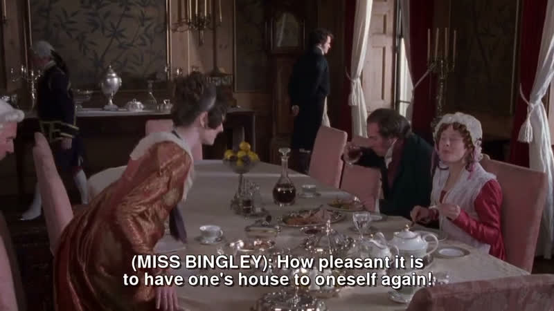 But I fear Mr Darcy is mourning the loss of Miss Eliza Bennet's pert opinions and fine eyes Pride Prejudice 1995