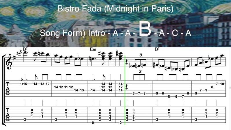 Bistro Fada Midnight in Paris Full Version Gypsy Jazz Guitar Tabs ギター