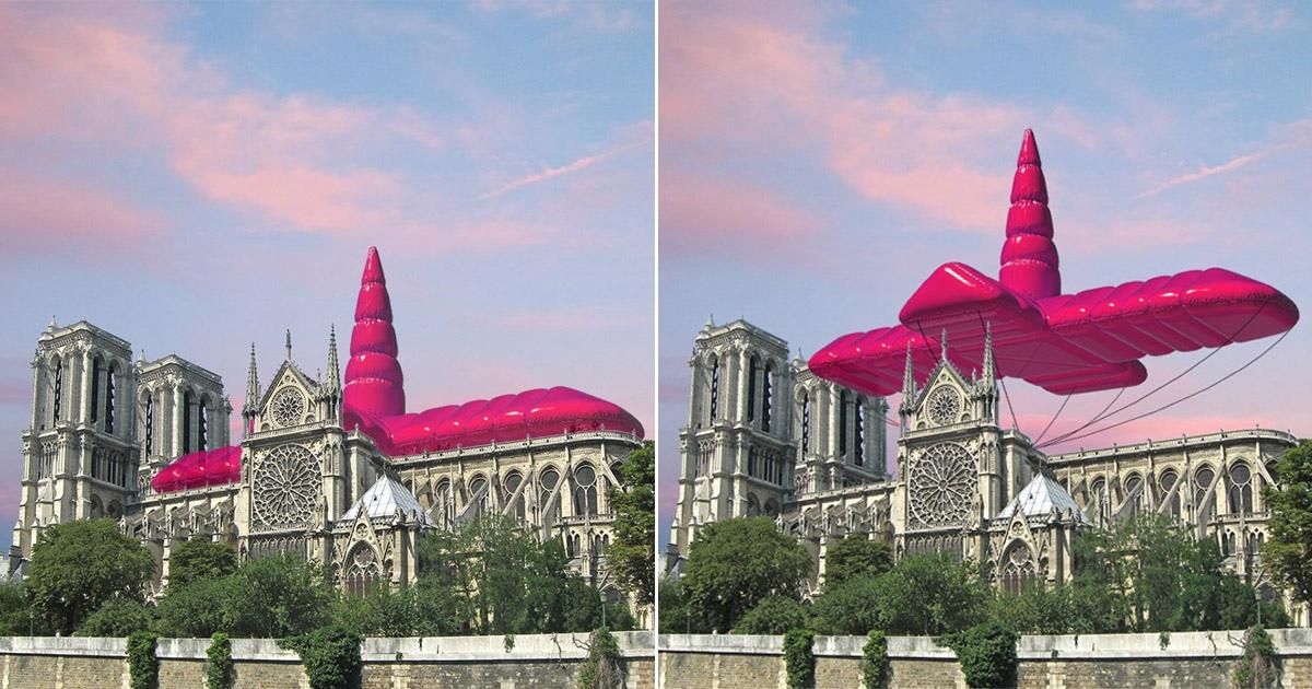 Архитекторы предложили установить над Нотр-Дамом розовую надувную летающую крышу