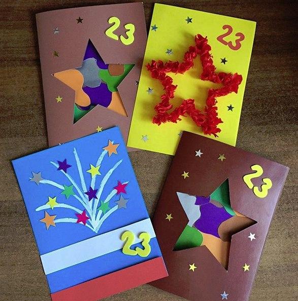 ОТКРЫТКИ К 23 ФЕВРАЛЯ СВОИМИ РУКАМИ. Несколько простых идей открыток на 23 февраля. Объемная открытка с красной звездой выполнена в технике «торцевание из
