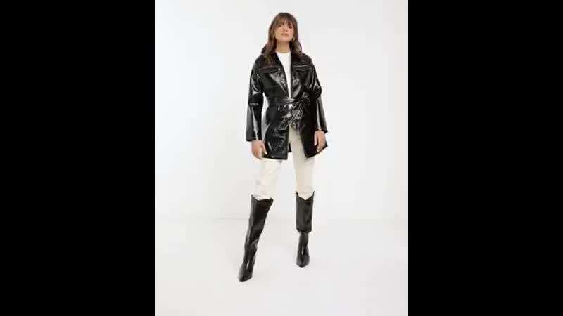 Glamorous belted jacket in vinyl.mp4
