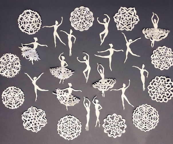 Танцующиe снежинки Балерин рисовала на скорую руку, но может кому-нибудь пригодятся сканы в качестве шаблонов Пользуйтесь, не