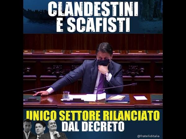 Giorgia Meloni a Conte Clandestini e Scafisti unico settore rilanciato dal decreto