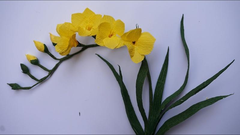 Cómo hacer flores de papel manualidades faciles Tutorial planta fresia