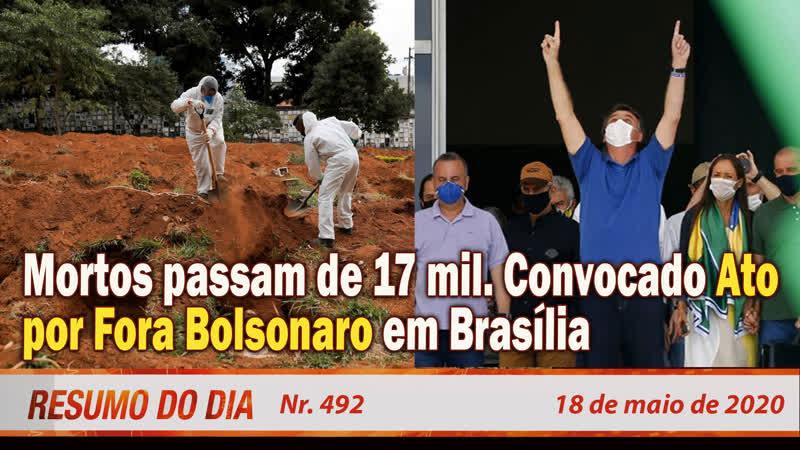Mortos passam de 17 mil. Convocado Ato por Fora Bolsonaro em Brasília. Resumo do Dia Nº 492 - 18520