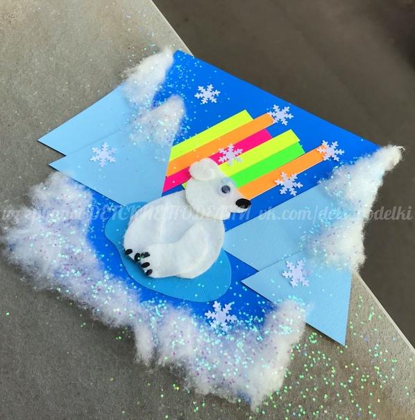 Зимние новогодние поделки - аппликация из бумаги, ваты и ватных дисков Умка на севере Вернее из ватных прямоугольников, а не дисков. Они намного лучше режутся и удобнее для