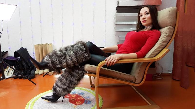 Christina's Gianmarco Lorenzi pointed toe high heels boots Кристина Кожина December 10 2017