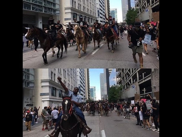 "Dozens of demonstrators on horseback, including at least one wearing a ""Black Cowboys Matter"" shirt,"
