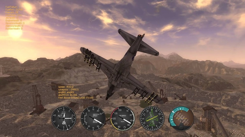 F 80 Vulture wipe out Quarry Junction 1st person flight New Vegas mod huehue