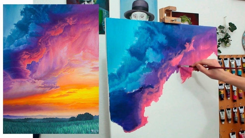 The Fury of the Sun Oil painting Colorful Sunset Clouds - painting tutorial time lapse