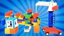 Видео про машинки на английском языке. Три крана строят дом