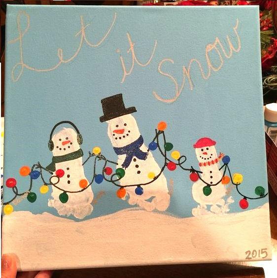 Классные идеи новогодних рисунков с отпечатками ножек и ладошек (1-3 фото - идея рисунка на тему семья)